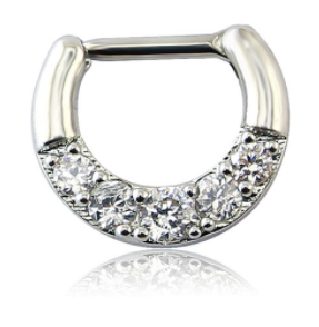 Fake Clicker Septum Nose Ring - Round - Silver with paved clear gem - Belly Button Rings Direct