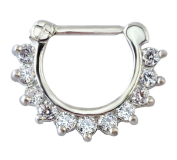 Fake Clicker Septum Nose Ring - Flower - Silver with paved clear gem - Belly Button Rings Direct