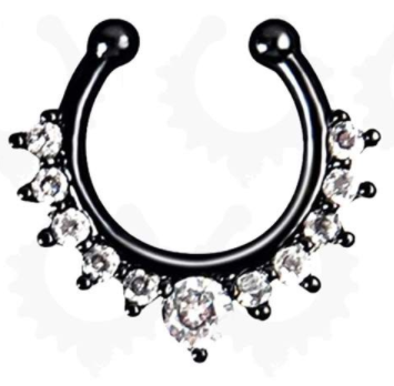 Fake Septum Hoop Nose Ring - Black With Gem - Belly Button Rings Direct