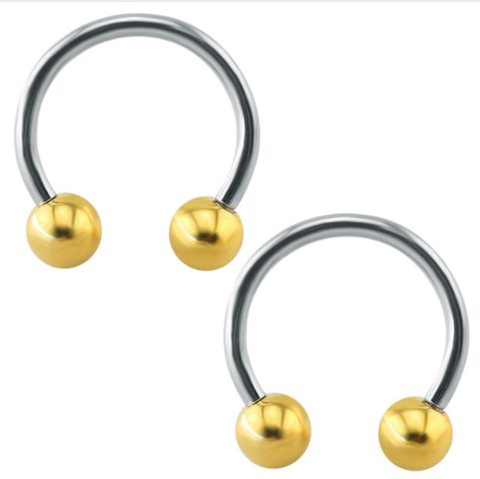 Circular Barbell Lip Ring - Balls - Gold - Belly Button Rings Direct