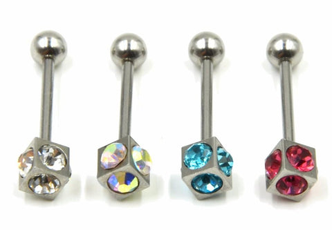 Gem Tongue Bar - Cube - Mix Color - Belly Button Rings Direct