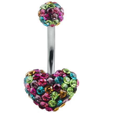 Disco Heart - Belly Button Ring - Multi Coloured - Belly Button Rings Direct