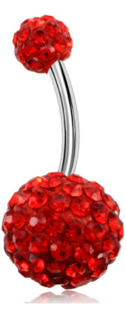 Disco Balls - Belly Button Ring - Red - Belly Button Rings Direct