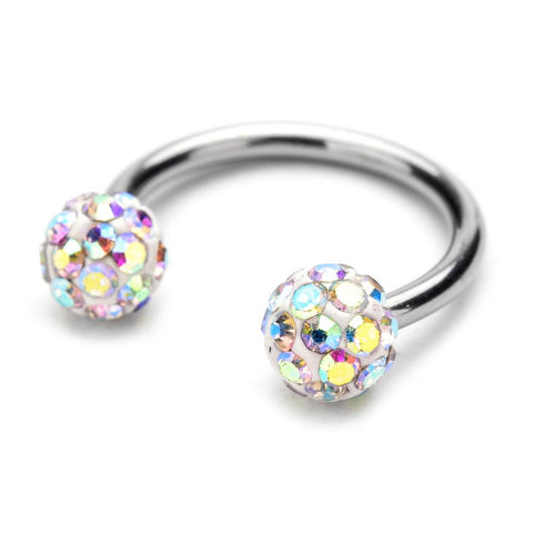 Circular Barbell Lip Ring - Disco Balls -Aurora Boreala - Belly Button Rings Direct