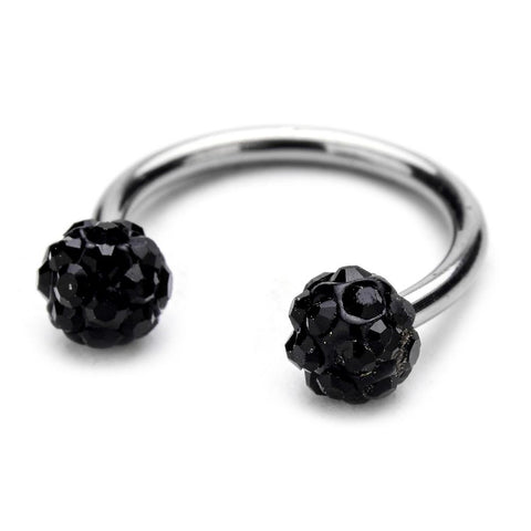Circular Barbell Lip Ring - Disco Balls - Black - Belly Button Rings Direct