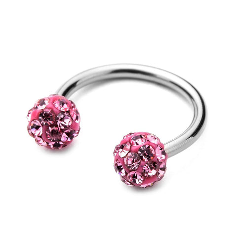 Circular Barbell Lip Ring - Disco Balls - Pink - Belly Button Rings Direct