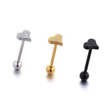 Love Heart Shaped - Tongue Bar - Belly Button Rings Direct