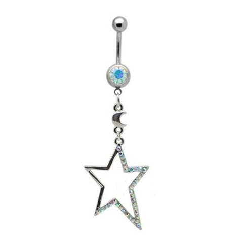 Dangly Crystal Gem - Star Belly Ring - Aurora Borealis - Belly Button Rings Direct