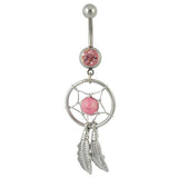 Dangly Dream Catcher - Belly Ring - Pink - Belly Button Rings Direct