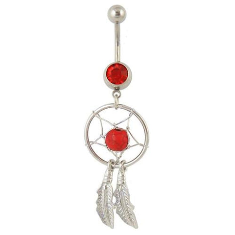 Dangly Dream Catcher - Belly Ring - Red - Belly Button Rings Direct