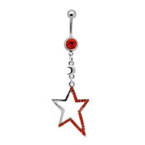 Dangly Crystal Gem - Star Belly Ring - Red - Belly Button Rings Direct