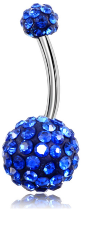 Disco Balls - Belly Button Ring - Royal Blue - Belly Button Rings Direct