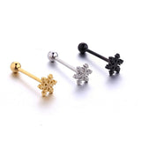 Snow Flake Shaped - Tongue Bar - Belly Button Rings Direct