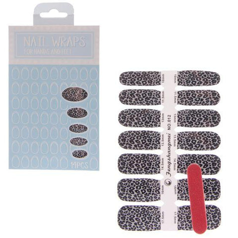 Black & White Leopard Nail Wraps - ColourYourEyes.com