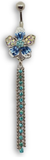 Tassle Gems - Flower Belly Ring - Blue - Belly Button Rings Direct