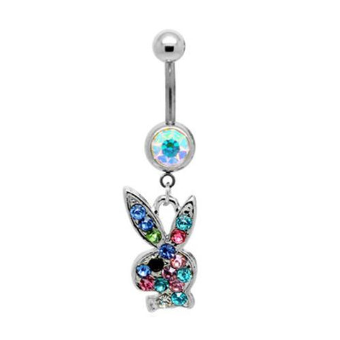 Dangly Playboy Belly Bar - Rainbow - Belly Button Rings Direct