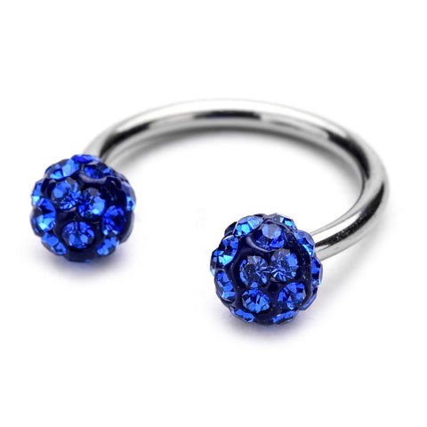 Horse Shoe Septum Nose Ring - Disco Balls - Royal Blue - Belly Button Rings Direct