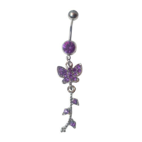 Dangly Crystal Gem - Butterfly Belly Ring - Violet - Belly Button Rings Direct
