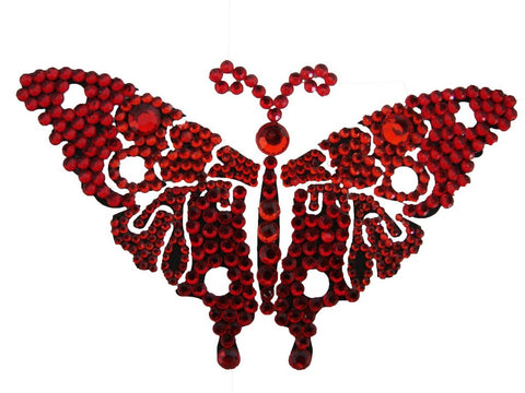 Vajazzle Butterfly Body Tattoo - Red Gems - Belly Button Rings Direct