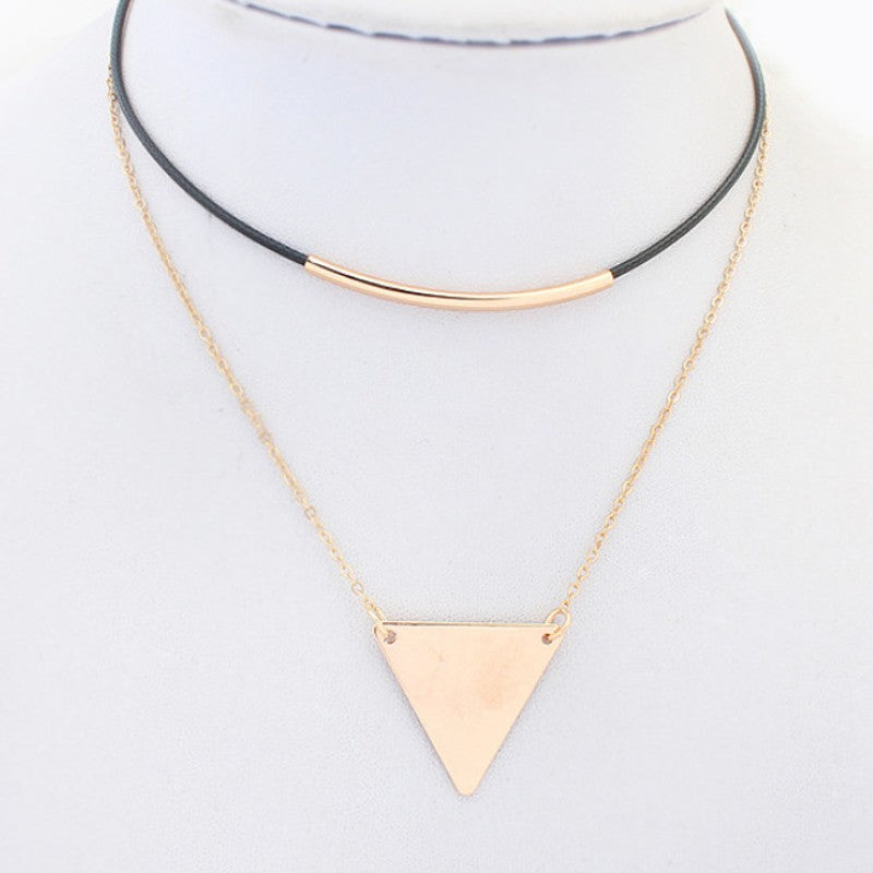 Collier pendentif Fashion mode - Or cuir pendentif triangle