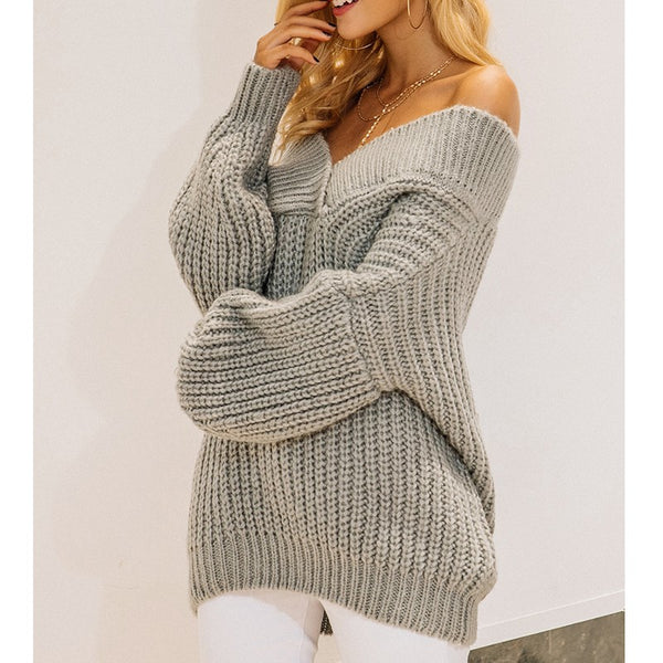 Pull large Mode Col grand V croisé Manches bouffantes