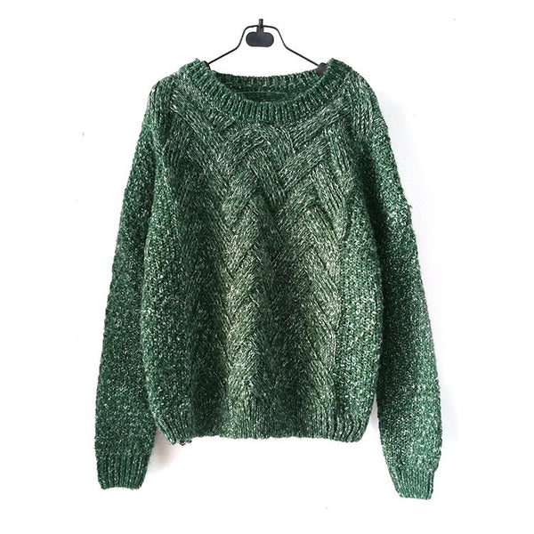 Pull maille jacquard chevrons Col rond