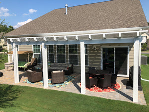 Heritage Patios Attached Aluminum Pergola In White With $ Post