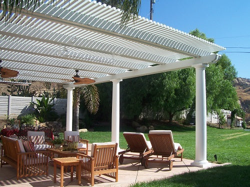 Simply stepping outdoors to read, eat, or just enjoying morning coffee  improves your day under a new Heritage Patio pergola or patio cover. - Aluminum Patio Cover & Open Lattice Pergola Awnings - Heritage Patios