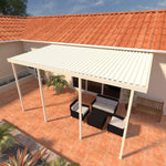 10 ft. Deep x 34 ft. Wide Ivory Attached Aluminum Patio Cover -4 Posts - (10lb Low Snow Area)