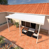 09 ft. Deep x 12 ft. Wide White Attached Aluminum Patio Cover -3 Posts - (20lb Low/Medium Snow Area)