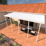 14 ft. Deep x 34 ft. Wide White Attached Aluminum Patio Cover -5 Posts - (10lb Low Snow Area)