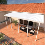 08 ft. Deep x 26 ft. Wide White Attached Aluminum Patio Cover -5 Posts - (30lb Medium/High Snow Area)