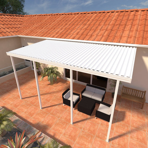 10 ft. Deep x 28 ft. Wide White Attached Aluminum Patio Cover -4 Posts - (10lb Low Snow Area)