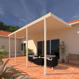 08 ft. Deep x 20 ft. Wide Ivory Attached Aluminum Patio Cover -4 Posts - (20lb Low/Medium Snow Area)