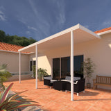 08 ft. Deep x 18 ft. Wide White Attached Aluminum Patio Cover -3 Posts - (10lb Low Snow Area)