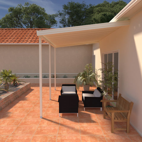 08 ft. Deep x 14 ft. Wide Ivory Attached Aluminum Patio Cover -3 Posts - (10lb Low Snow Area)