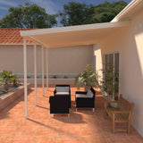 08 ft. Deep x 40 ft. Wide Ivory Attached Aluminum Patio Cover -5 Posts - (10lb Low Snow Area)