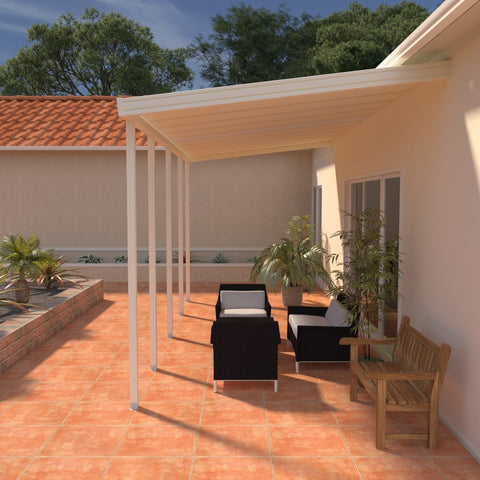 12 ft. Deep x 28 ft. Wide Ivory Attached Aluminum Patio Cover -4 Posts - (10lb Low Snow Area)