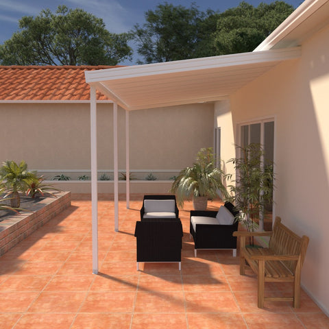 08 ft. Deep x 24 ft. Wide White Attached Aluminum Patio Cover -3 Posts - (10lb Low Snow Area)
