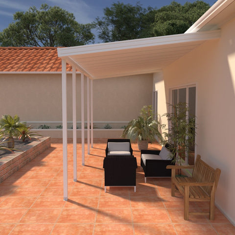 08 ft. Deep x 24 ft. Wide White Attached Aluminum Patio Cover -5 Posts - (30lb Medium/High Snow Area)