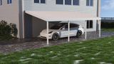10 ft. Deep x 22 ft. Wide Ivory Attached Aluminum Carport -4 Posts - (10lb Low Snow Area)