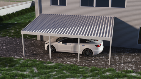 10 ft. Deep x 28 ft. Wide Ivory Attached Aluminum Carport -4 Posts - (10lb Low Snow Area)