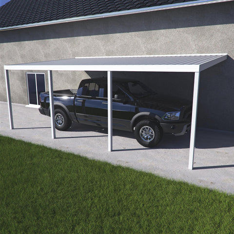 10 ft. Deep x 28 ft. Wide White Attached Aluminum Carport -4 Posts - (10lb Low Snow Area)