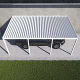 10 ft. Deep x 22 ft. Wide White Attached Aluminum Carport -4 Posts - (30lb Medium/High Snow Area)