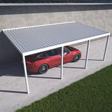 10 ft. Deep x 16 ft. Wide White Attached Aluminum Carport -4 Posts - (30lb Medium/High Snow Area)