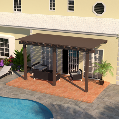 08 ft. Deep x 16 ft. Wide Brown Attached Aluminum Pergola -3 Posts - (10lb Low Snow Area)