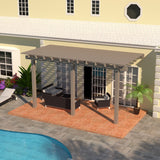 08 ft. Deep x 14 ft. Wide Adobe Attached Aluminum Pergola -3 Posts - (20lb Low/Medium Snow Area)