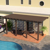 10 ft. Deep x 18 ft. Wide Brown Attached Aluminum Pergola -4 Posts - (30lb Medium/High Snow Area)