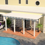 12 ft. Deep x 20 ft. Wide White Attached Aluminum Pergola -4 Posts - (20lb Low/Medium Snow Area)