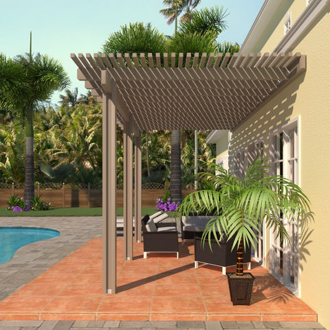 08 ft. Deep x 24 ft. Wide Adobe Attached Aluminum Pergola -3 Posts - (10lb Low Snow Area)